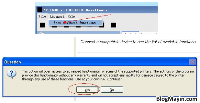 Cách reset tràn bộ đếm trên máy in Epson 1430 thường chưa nâng cấp + Hình 4