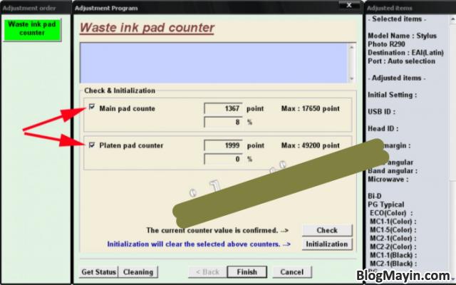 Hướng dẫn Reset Counter tràn bộ đếm máy in phun màu Epson 1390 + Hình 8