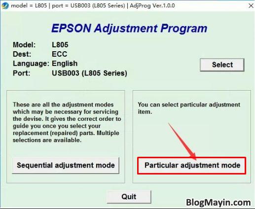 Hướng dẫn bạn cách reset tràn bộ đếm máy in Epson L805 + Hình 5