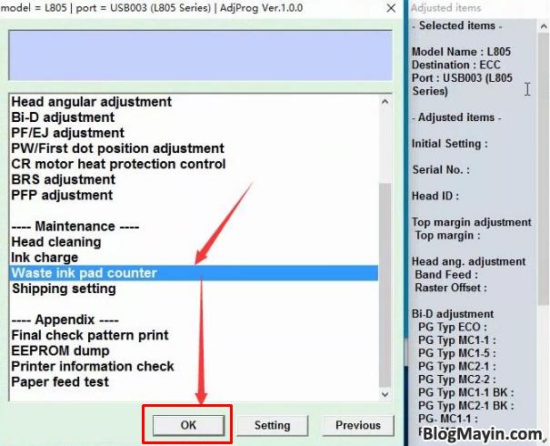 Hướng dẫn bạn cách reset tràn bộ đếm máy in Epson L805 + Hình 6